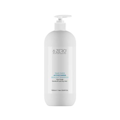 TAKE OVER – ACTIVE SHEER | Shampoo bivalente cute grassa, con forfora e lunghezze secche